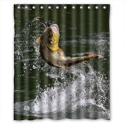 Sea Secret Fishing Fish Waterdrop High Quality Fabric Bathroom Shower Curtain 60 (High Quality Koi Japan)