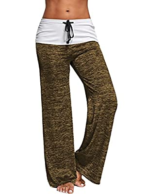 Womens Wide Leg Yoga Lounge Pants Comfy Soft Drawstring Waist Jogger Trousers