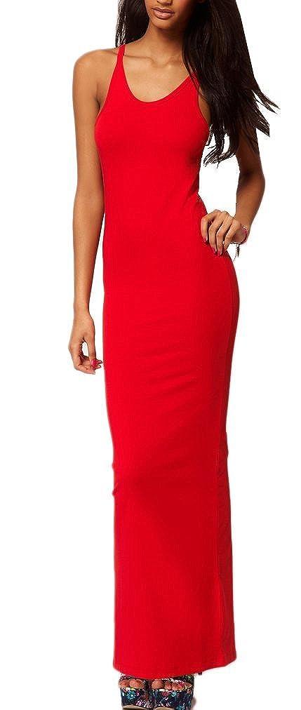 Mikos Damen Strandkleid Sommerkleid Lang BOHO Style Maxi Lange Kleid  Stretch Sleeveless Beach Kleid Partykleid Elegant S-XL 335  Amazon.de   Bekleidung 88d1aed8da