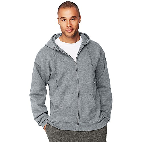 Hanes Menâ€s Ultimate Cotton Heavyweight Full Zip Hoodie_Light - Heavyweight Hanes Sweatshirt