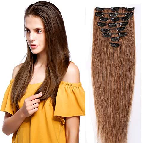 #6 Light Brown 100% Real Remy Clip in Human Hair Extensions 16-22inch Grade AAAAA Natural Hair Full Head Standard Weft 8 Pieces 18 Clips Long Straight for Women Fashion 22
