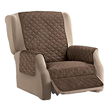 Reversible Quilted Furniture Cover, Chocolate/Tan, Recliner