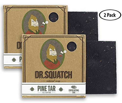 (Dr. Squatch Pine Tar Soap 2-pack Bundle - Mens Bar with Natural Woodsy Scent and Skin Exfoliating Scrub – Handmade with Pine, Coconut, Olive Organic Oils in USA (2 Bar)