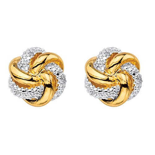 Earrings 18k Tone Two (White Diamond Accent 18k Gold-Plated Two-Tone Love Knot Button Earrings (11mm))
