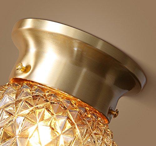 NOXARTE Pineapple Style Ceiling Light Art Design Brass Body Glass Shade Flush Mount Ceiling Lamp Lighting Fixture for Bathroom, Foyer, Hallway by NOXARTE (Image #4)