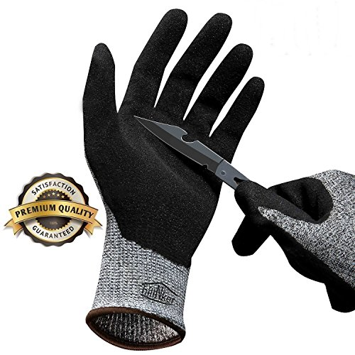 (Hilinker Cut Resistant Gloves Highest Performance Knife Scissors Hands & Body EN388 Level 5 Protection Kitchen Work Safety Hand Protector Lightweight Durable Comfortable Indoor Outdoor Use Medium)