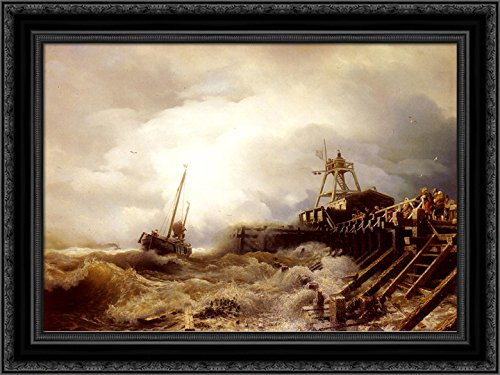 (A Fishing Boat Caught in A Squall Off A Jetty 24x19 Black Ornate Wood Framed Canvas Art by Achenbach, Andreas)