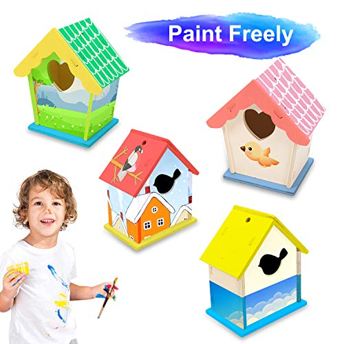 2 Pack Wooden DIY Bird House Kits for Kids, Crafts Wood Arts for Boys Girls Ages 3-8, Unfinished Bird House for Kids to Build and Paint(12 Paints+ 2 Brushes)