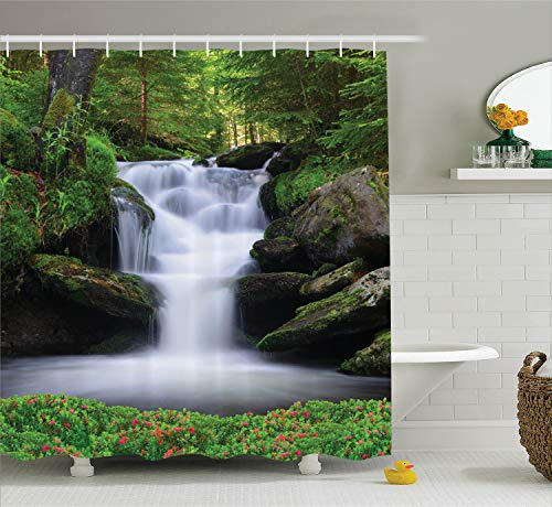 Ambesonne Natural Waterfall Decor Shower Curtain Set, Dream Like Image of Waterfall with Trees and Flowers in Forest Mother Nature, Bathroom Accessories, 75 inches Long, Dark Green