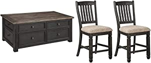 Signature Design by Ashley Tyler Creek Lift Top Coffee Table, Two-Tone (Grayish Brown/Black) & Creek Counter Height Bar Stool, Black/Grayish Brown