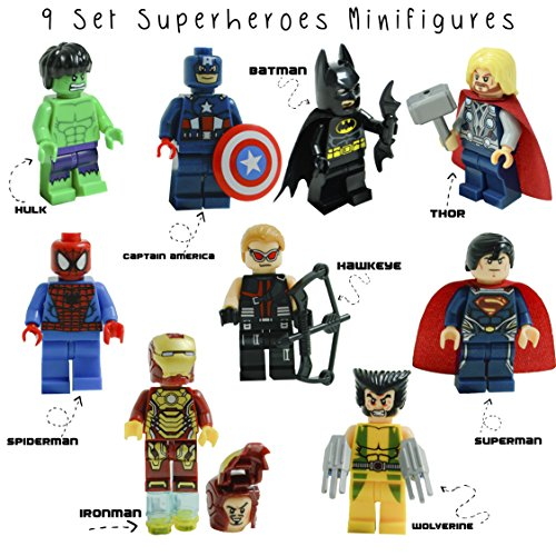 Kid's Corner Productions 9 Superheroes Minifigures Set | Set of 9 Characters | The Most Famous Superheroes of Marvel and DC Comics with Tools, Helmet | Batman, Thor, Hulk, Captain America and more