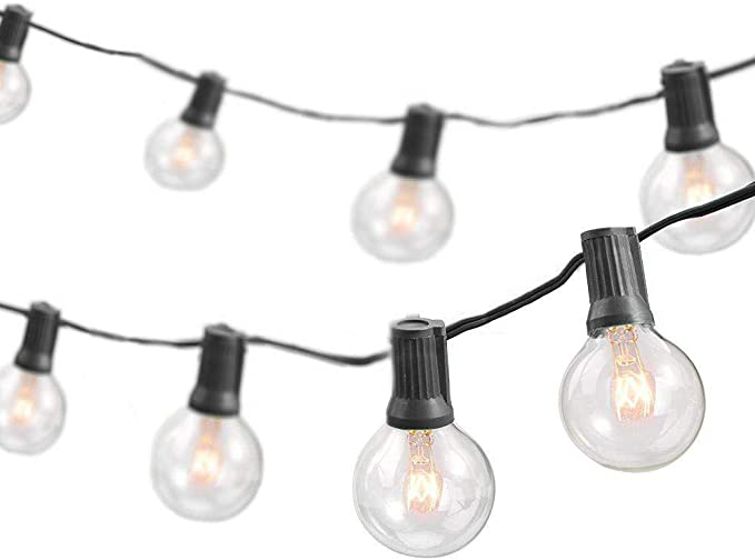 Newhouse Lighting Pstringinc50 Foot 50 Socket Indoor Outdoor String 55 Incandescent Globe G40 5 Free Bulbs Included Wedding Lights Decorations For Patios Porches Backyards Decks Bistros 50ft Home Improvement