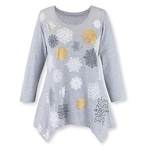 - Women's Sparkle Snowflake 3/4 Sleeve Sharkbite Tunic - Jersey Knit, Grey, X-Large