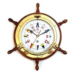 Bey-Berk Brass Porthole Clock on Oak Ships Wheel with Nautical Numbers - Tarnish Proof