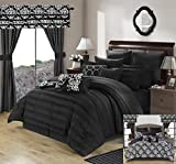 Perfect Home 24 Piece Orinda Complete Pleated ruffles and Reversible Printed Queen Bed In a Bag Comforter Set with window treatement, Black. Sheets Included