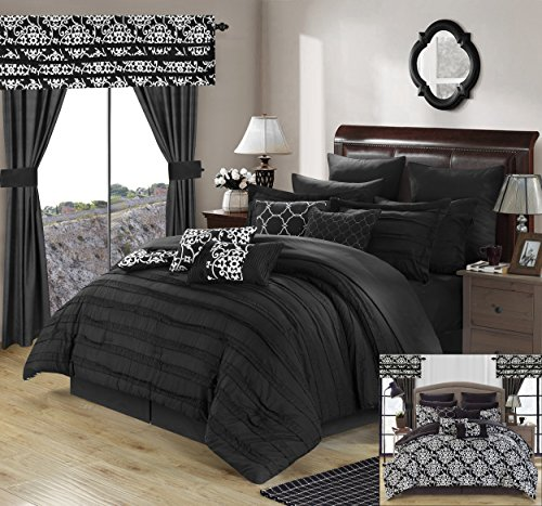 Perfect Home 24 Piece Orinda Complete Pleated ruffles and Reversible Printed Queen Bed In a Bag Comforter Set with window treatement, Black. Sheets Included (Bed Queen Complete Ensemble)