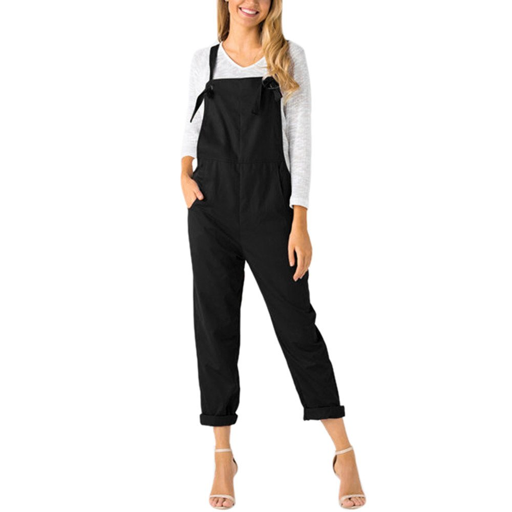 4Clovers Womens Straps Overall Pockets Bib Baggy Playsuit Pants Casual Sleeveless Jumpsuit Trousers