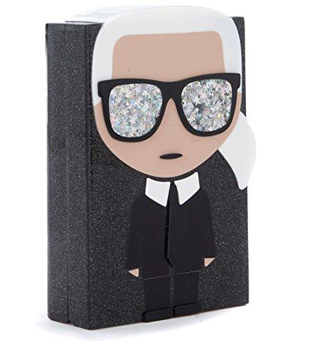 Minaudière Karl Lagerfeld Ikoning in glitter con grafica