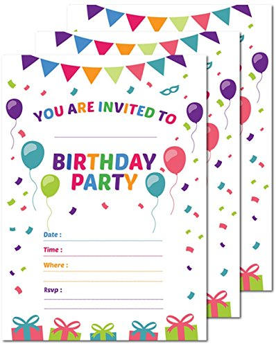 25 Happy Birthday Personalized Party Invitations 5x7 Card Stock with Envelopes -