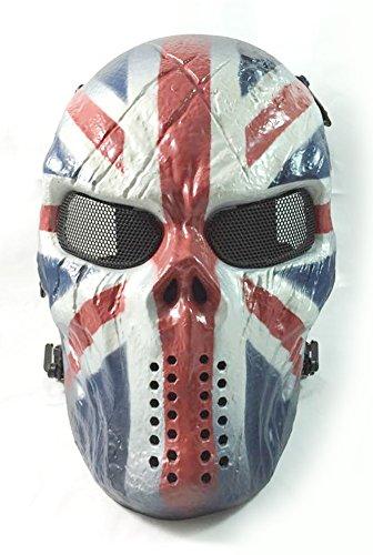 ATAIRSOFT Airsoft Paintball Hockey Full Face Metal Mesh Eye Bb Protect Full Face Mask Cosplay M06 (British - Eyewear British