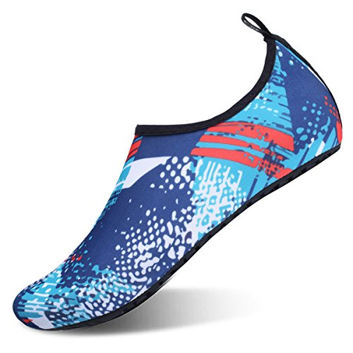 JIASUQI Summer Sports Water Skin Aqua Shoes for Womens and Mens Blue Graffiti US 13-14 Women, 10.5-11 Men