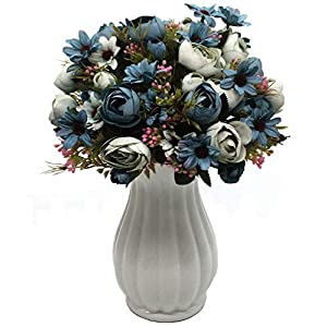 CATTREE Artificial Peony Bud Mixed Flowers, 4pcs Plastic Plants Silk Fake Flowers Bouquet Bridal Home Garden Office Kitchen Bathroom Table Centerpieces Wedding Decor Decorations Blue 106