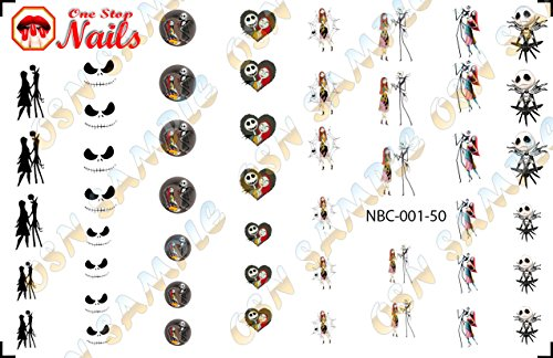 Nightmare Before Christmas Gel Nails - Jack Skellington Set of 50 Clear waterslide nail decals for NBC-001-50 by One Stop Nails