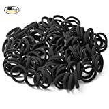 Seamless 8mm High Elastic Cotton stretch Hair Ties Bands Rope Ponytail Holders Headband Scrunchie Hair Accessories No Slipping Snagging Breaking or Stretching Out(100pcs) (Black) by Hanmei