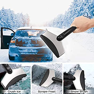 Ice Scraper (2 Pcs) for Car, Extendable Snow Brush with Squeegee and Ice Scraper,Stainless Steel Snow Ice Scraper Tool With Rubber Blade Snow Removal Tool for Windshield and Window (STYLE5): Automotive