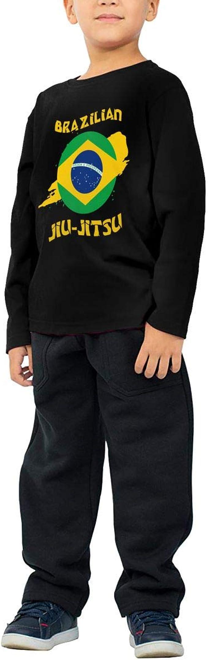 CERTONGCXTS Toddler Jiu Jitsu USA Brazil Flag ComfortSoft Long Sleeve Tee