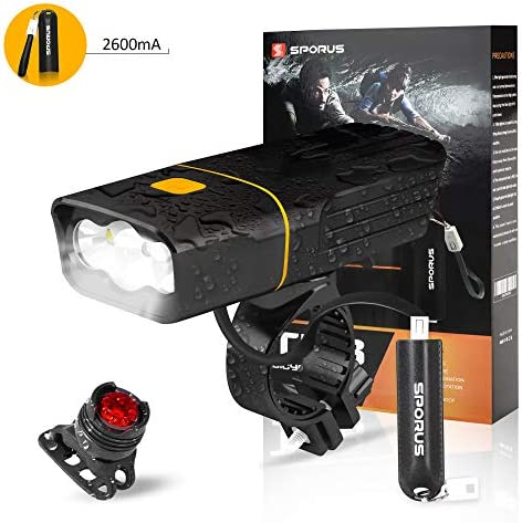 SPORUS Bike Light, Bike Front Light USB Rechargeable, Waterproof Bicycle Headlight Back Tail Lights with Powerful Lumens for Mountain Road Cycling Safety 2600mA Portable Power Bank Included