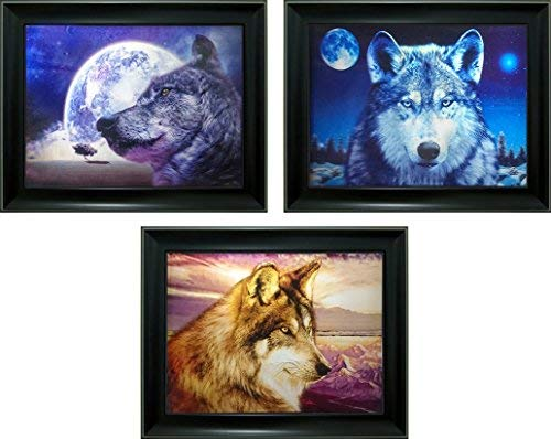 Wolf Photo Frame - Lee's Collection Howling Wolf 3D Picture and Frame Black