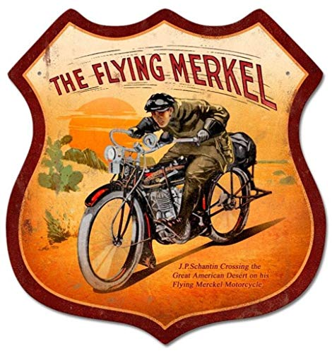Losea Flying Merkel Shield Metal Tin Sign Wall Art Decor for Living Room Vintage Art Coffee Bar Signs Home Decor Gifts Decoration 12 x 12 Inches -