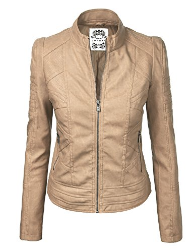 6 Womens Vegan Leather Motorcycle Jacket S Khaki ()