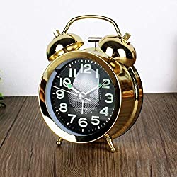 Guoke Simple Fashion Cartoon Large Metal Sound The Alarm Clock, Gold Plated