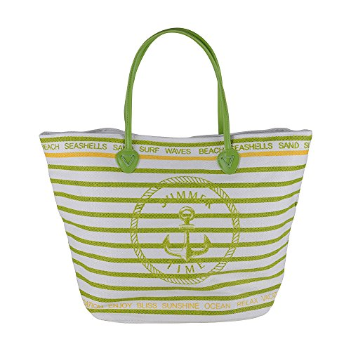 Canvas Heavy Shoulder Straps Summer Time Premium Stripe Cotton Women Beach Tote Bag by BB (Green)
