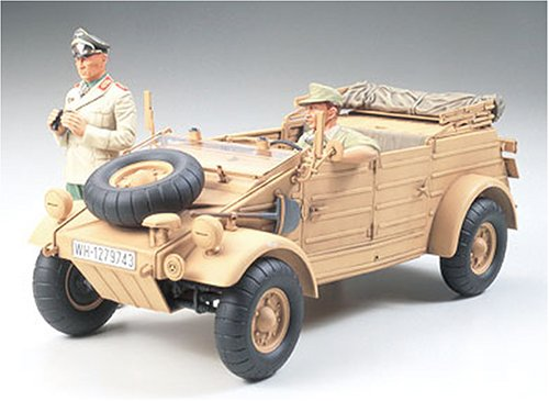 #36202 Tamiya German Kubelwagen Type 82 Africa-Corps w/ Feldmarchall Rommel 1/35th Scale Plastic Model Kit,Needs ()