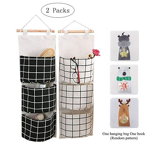 Blansdi Fabric Hanging Storage Bag, Wall Mounted Storage Bag Linen Cotton Over The Door Closet Organizer Hanging Pocket for Bedroom and Bathroom with 3 Pockets (White+Black)