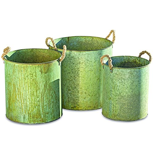 Grand Tour Galvanized Zinc Planters, Set of 3, Rope Handles, Big Bucket Style, Vintage Distressed Patina, 15 3/4 D x 15 H, 13 3/4 D x 14 1/2 H and - Handle Style Rope