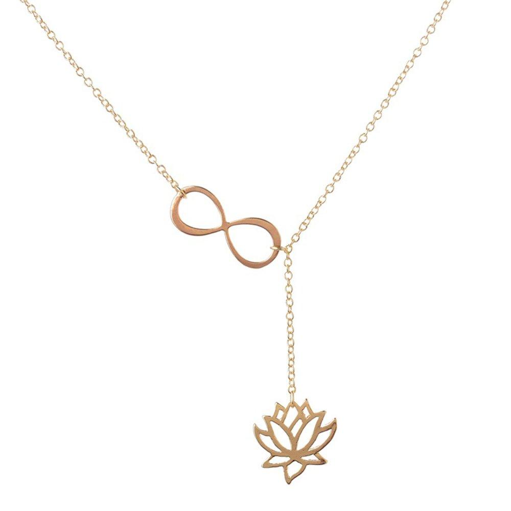 Lotus Flower Jewelry Personalized Infinity Lotus Flower Necklace Spiritual Jewelry Meditation Necklace MINGHUA