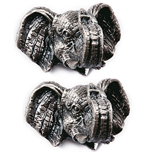 A.B Crew Pack of 2 Vintage Style Tin-Lead Alloy Animal Cabinet Cupboard Drawer Knob(Elephant,Screw Length: 5cm/1.97