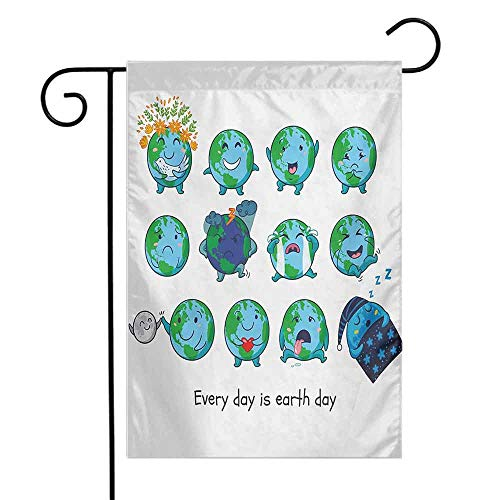Mannwarehouse Emoji Garden Flag Planet Earth as Smiley Angry Happy Sad Cheerful Faces Expressions and a Quote Print Premium Material W12 x L18 Multicolor ()