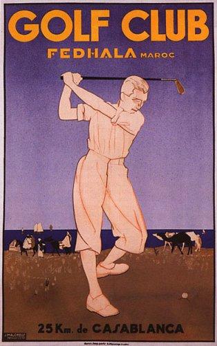 Golf Club Fedhala Maroc Casablanca Large Vintage Poster Repro
