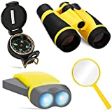 COOK JOY Outdoor Adventure Toys for Kids, 4pcs Outdoor Nature Exploration Toy Set , 4x30mm Binoculars, Lensatic Compass, LED Flashlight, Magnifying Glass