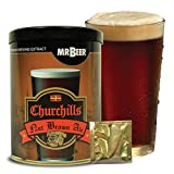 two gallon beer kit - Mr. Beer Churchills Nut Brown Ale 2 Gallon Homebrewing Craft Beer Making Refill Kit with Sanitizer, Yeast and All Grain Brewing Extract Comprised of the Highest Quality Barley and Hops