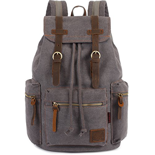 - KAUKKO Vintage Casual Canvas and Leather Rucksack Backpack, Grey