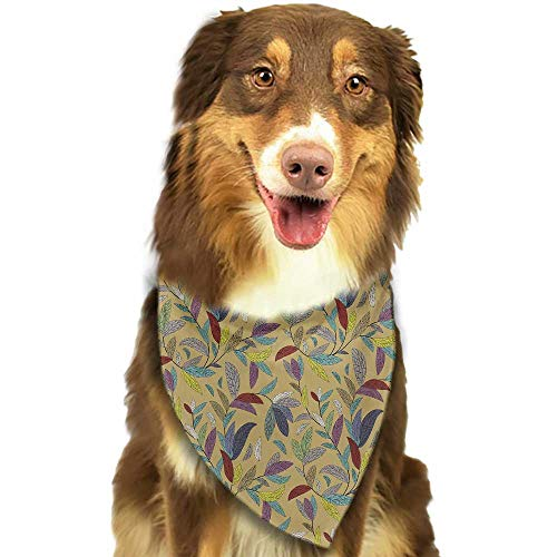 Cute pet Scarf Flower Colorful Sketchy Hand Drawn Plants Leaves Swirls Nature Themed Khaki Backdrop Print W27.5 xL12 Scarf for Small and Medium Dogs and Cats ()