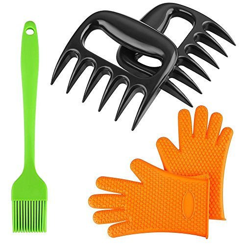 Meat Handler Shredder Claws BBQ Tool Kit Tongs Lift for Kitchen Bear Paws + BBQ Grilling Gloves Microwave Oven Potholder + BBQ Oil Brush, Best Grill Tool Set by Fochea