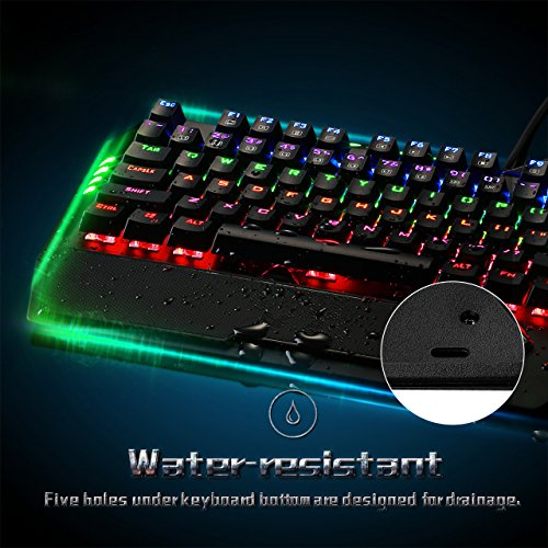 lovely Pictek Mechanical Gaming Keyboard Wired Rainbow Backlit