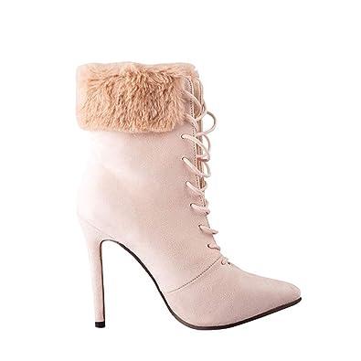 07f41b08dd3de Amazon.com | Woman Ankle Boots Lace Up Faux Fur Pointed Toe High ...